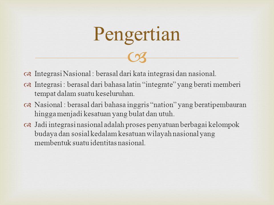 """  Integrasi Nasional : berasal dari kata integrasi dan nasional.  Integrasi : berasal dari bahasa latin """"integrate"""" yang berati memberi tempat dala"""