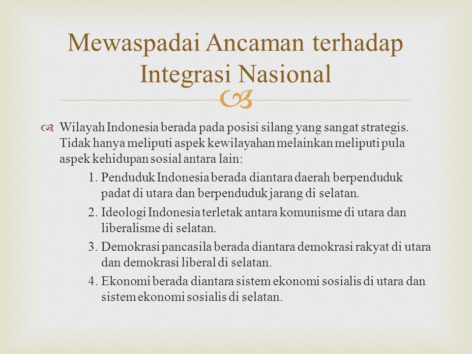   Wilayah Indonesia berada pada posisi silang yang sangat strategis. Tidak hanya meliputi aspek kewilayahan melainkan meliputi pula aspek kehidupan