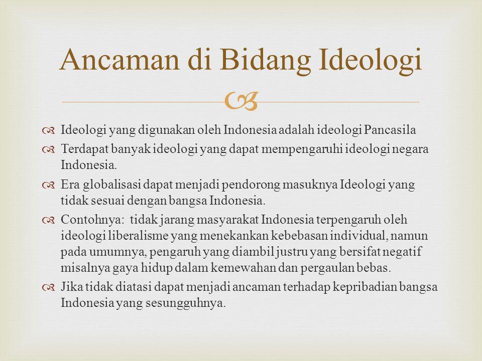   Ideologi yang digunakan oleh Indonesia adalah ideologi Pancasila  Terdapat banyak ideologi yang dapat mempengaruhi ideologi negara Indonesia.
