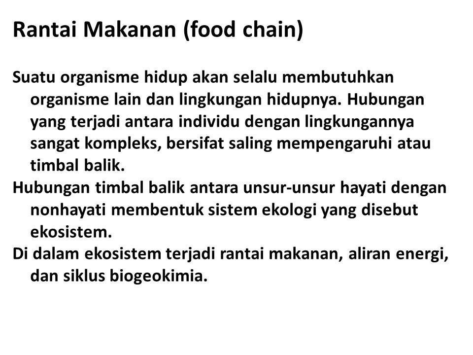 Rantai Makanan (food chain) Suatu organisme hidup akan selalu membutuhkan organisme lain dan lingkungan hidupnya. Hubungan yang terjadi antara individ
