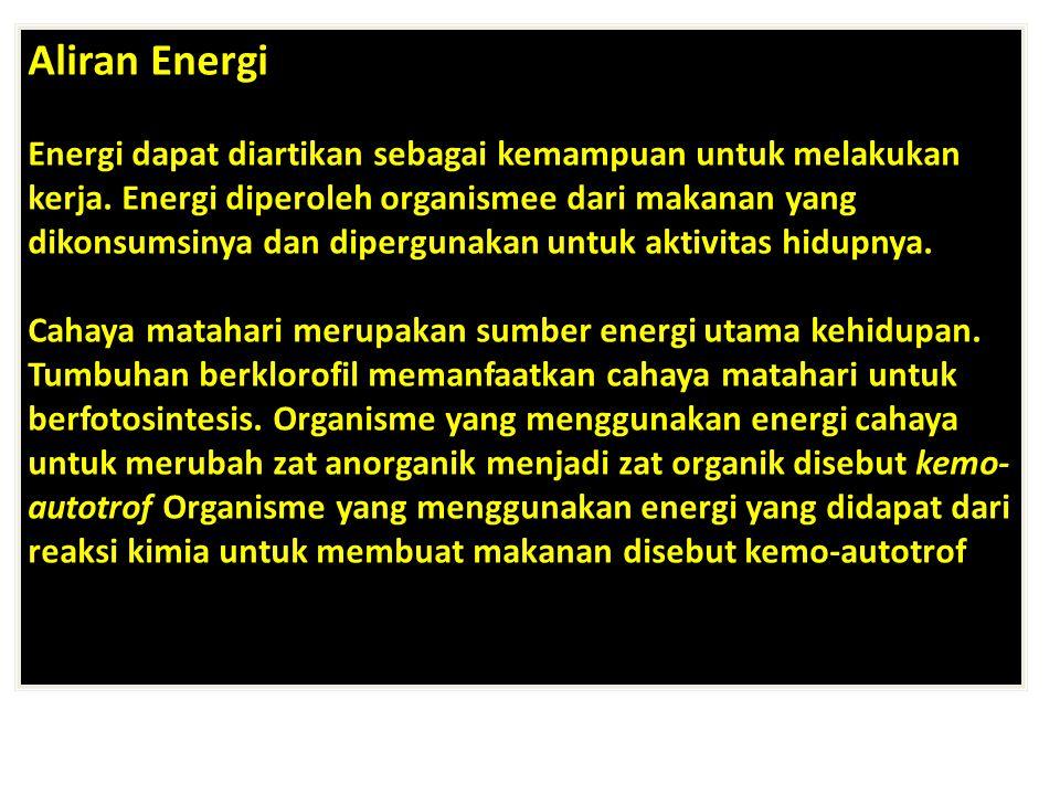 Aliran Energi Energi dapat diartikan sebagai kemampuan untuk melakukan kerja. Energi diperoleh organismee dari makanan yang dikonsumsinya dan dipergun