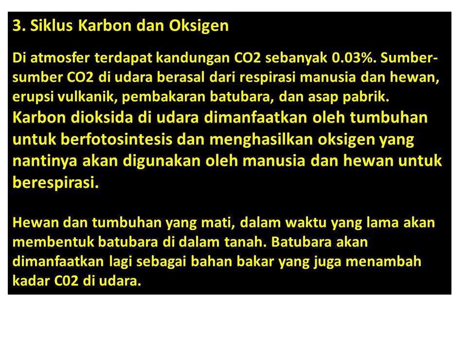 3. Siklus Karbon dan Oksigen Di atmosfer terdapat kandungan CO2 sebanyak 0.03%. Sumber- sumber CO2 di udara berasal dari respirasi manusia dan hewan,