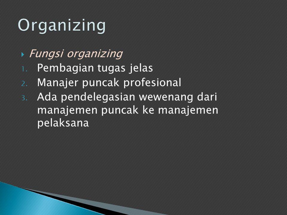 Fungsi organizing 1. Pembagian tugas jelas 2. Manajer puncak profesional 3. Ada pendelegasian wewenang dari manajemen puncak ke manajemen pelaksana