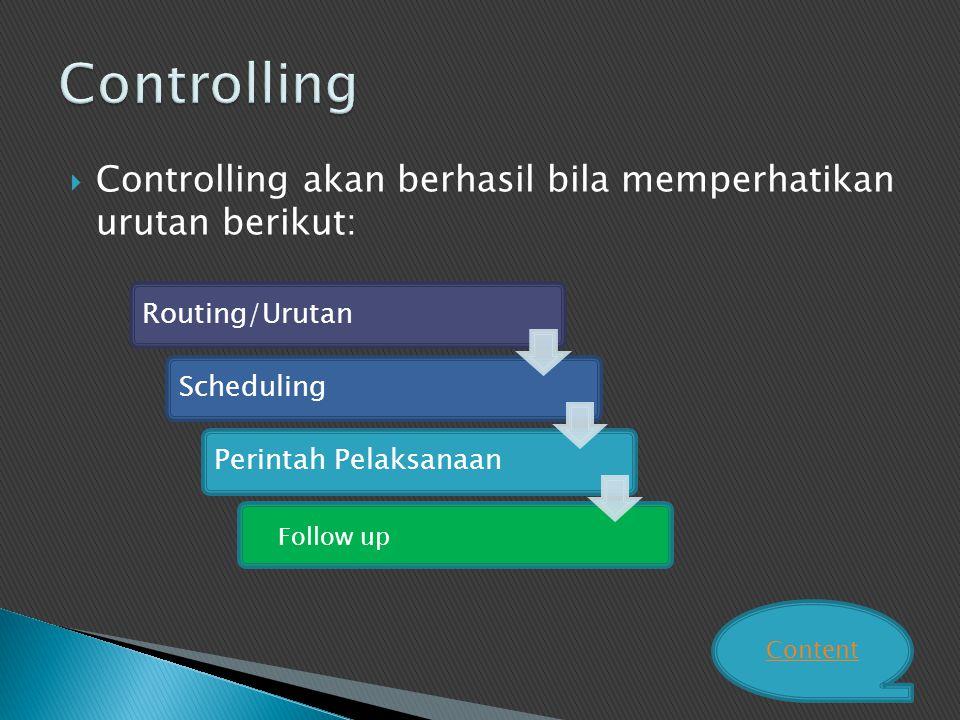  Controlling akan berhasil bila memperhatikan urutan berikut: Routing/UrutanSchedulingPerintah Pelaksanaan Follow up Content
