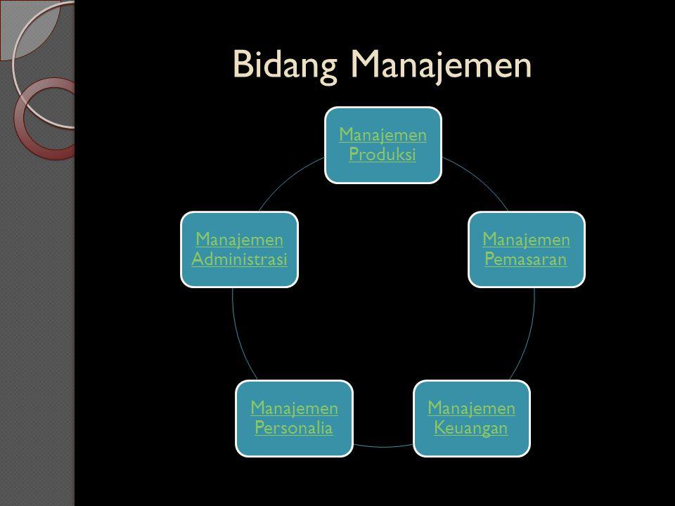 Bidang Manajemen Manajeme n Produksi Manajemen Pemasaran Manajemen Keuangan Manajemen Personalia Manajemen Administras i