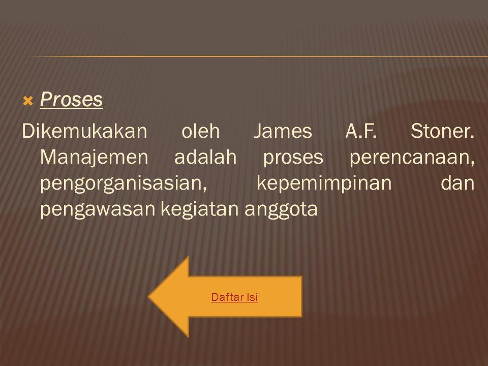 Proses Dikemukakan oleh James A.F. Stoner. Manajemen adalah proses perencanaan, pengorganisasian, kepemimpinan dan pengawasan kegiatan anggota Dafta