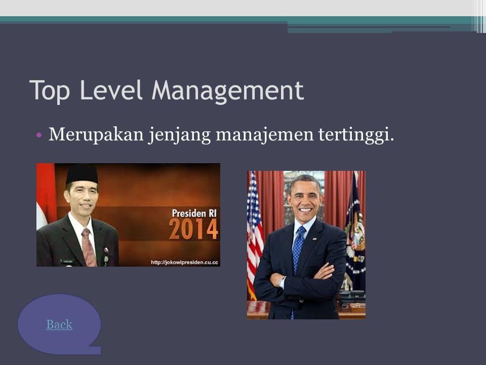 Top Level Management Merupakan jenjang manajemen tertinggi. Back
