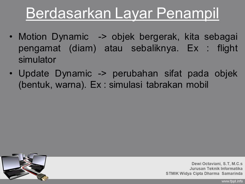 Berdasarkan Layar Penampil Motion Dynamic -> objek bergerak, kita sebagai pengamat (diam) atau sebaliknya.