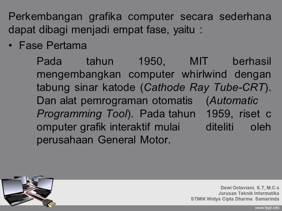 Perkembangan grafika computer secara sederhana dapat dibagi menjadi empat fase, yaitu : Fase Pertama Pada tahun 1950, MIT berhasil mengembangkan computer whirlwind dengan tabung sinar katode (Cathode Ray Tube-CRT).