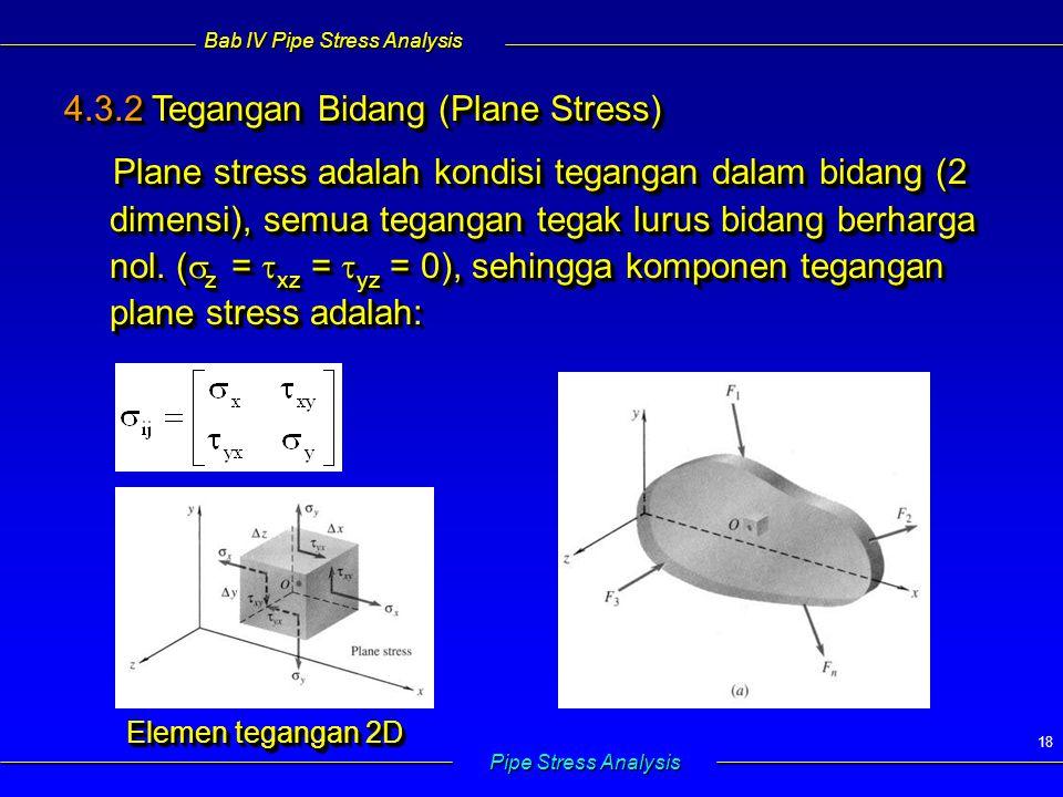 Bab IV Pipe Stress Analysis Pipe Stress Analysis 18 4.3.2 Tegangan Bidang (Plane Stress) Plane stress adalah kondisi tegangan dalam bidang (2 dimensi)