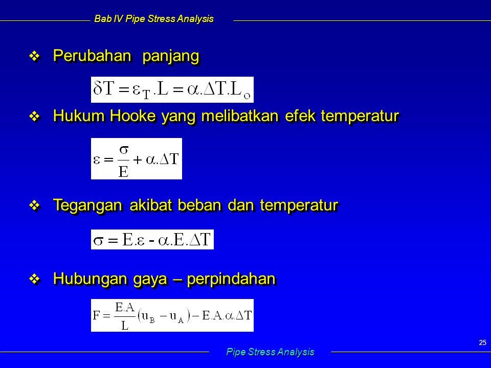 Bab IV Pipe Stress Analysis Pipe Stress Analysis 25  Perubahan panjang  Hukum Hooke yang melibatkan efek temperatur  Tegangan akibat beban dan temp