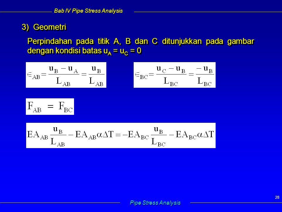 Bab IV Pipe Stress Analysis Pipe Stress Analysis 28 3) Geometri 3) Geometri Perpindahan pada titik A, B dan C ditunjukkan pada gambar dengan kondisi batas u A = u C = 0 3) Geometri 3) Geometri Perpindahan pada titik A, B dan C ditunjukkan pada gambar dengan kondisi batas u A = u C = 0