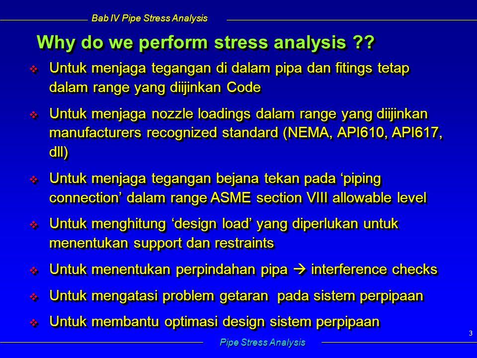 Bab IV Pipe Stress Analysis Pipe Stress Analysis 3  Untuk menjaga tegangan di dalam pipa dan fitings tetap dalam range yang diijinkan Code  Untuk me