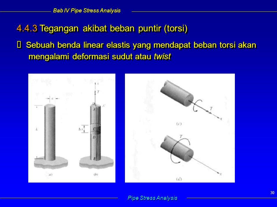 Bab IV Pipe Stress Analysis Pipe Stress Analysis 30 4.4.3 Tegangan akibat beban puntir (torsi)  Sebuah benda linear elastis yang mendapat beban torsi akan mengalami deformasi sudut atau twist 4.4.3 Tegangan akibat beban puntir (torsi)  Sebuah benda linear elastis yang mendapat beban torsi akan mengalami deformasi sudut atau twist
