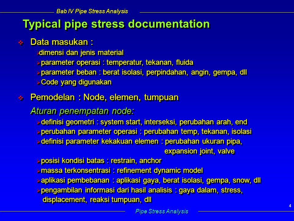 Bab IV Pipe Stress Analysis Pipe Stress Analysis 25  Perubahan panjang  Hukum Hooke yang melibatkan efek temperatur  Tegangan akibat beban dan temperatur  Hubungan gaya – perpindahan