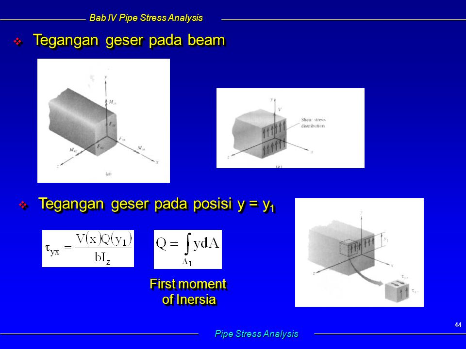 Bab IV Pipe Stress Analysis Pipe Stress Analysis 44  Tegangan geser pada beam  Tegangan geser pada posisi y = y 1 First moment of Inersia First moment of Inersia