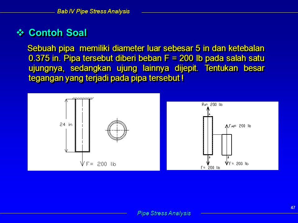Bab IV Pipe Stress Analysis Pipe Stress Analysis 47  Contoh Soal Sebuah pipa memiliki diameter luar sebesar 5 in dan ketebalan 0.375 in. Pipa tersebu