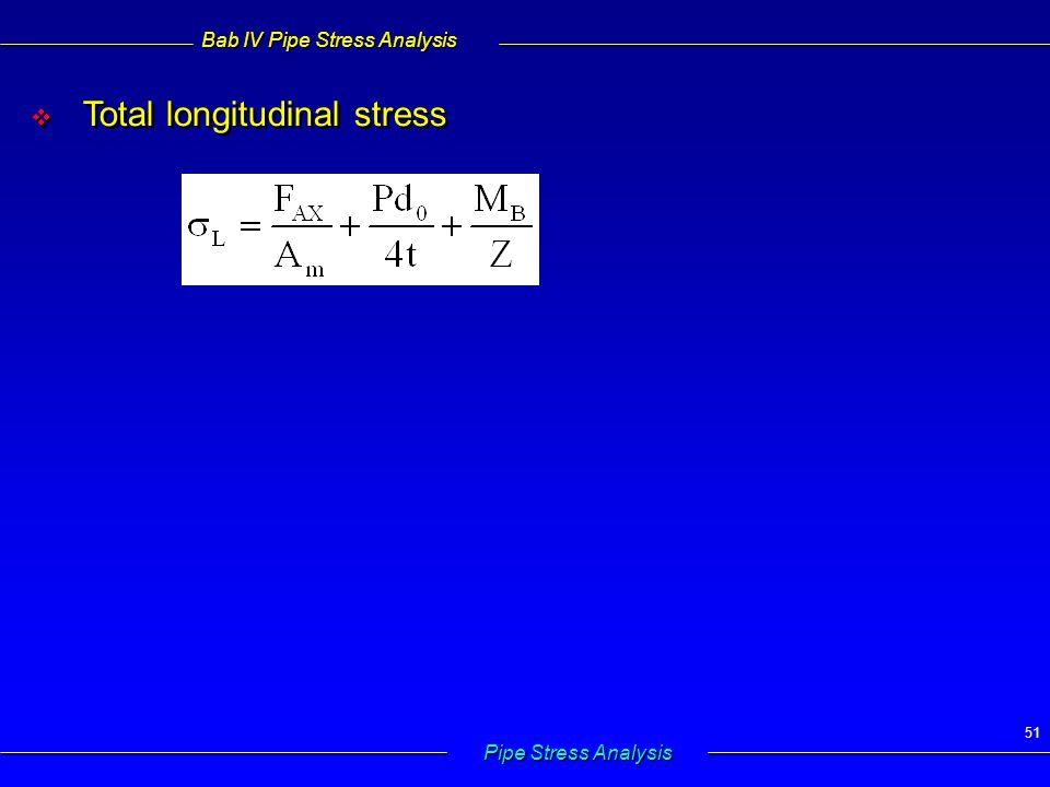 Bab IV Pipe Stress Analysis Pipe Stress Analysis 51   Total longitudinal stress