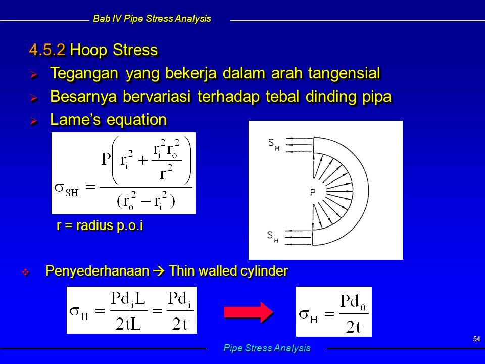 Bab IV Pipe Stress Analysis Pipe Stress Analysis 54 4.5.2 Hoop Stress  Tegangan yang bekerja dalam arah tangensial  Besarnya bervariasi terhadap tebal dinding pipa  Lame's equation 4.5.2 Hoop Stress  Tegangan yang bekerja dalam arah tangensial  Besarnya bervariasi terhadap tebal dinding pipa  Lame's equation   Penyederhanaan  Thin walled cylinder r = radius p.o.i