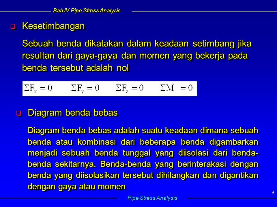 Bab IV Pipe Stress Analysis Pipe Stress Analysis 57 4.5.4 Shear Stress  Bekerja dalam arah penampang pipa  Akibat gaya geser : 4.5.4 Shear Stress  Bekerja dalam arah penampang pipa  Akibat gaya geser : V= gaya geser A m = luas penampang Q= Shear form factor (1.33 for solid circular section) V= gaya geser A m = luas penampang Q= Shear form factor (1.33 for solid circular section)  Maksimum pada sumbu netral & minimum pada jarak maks dari sumbu netral  opposite bending stress  Magnitude relatif kecil  diabaikan (traditionaly)  Maksimum pada sumbu netral & minimum pada jarak maks dari sumbu netral  opposite bending stress  Magnitude relatif kecil  diabaikan (traditionaly)