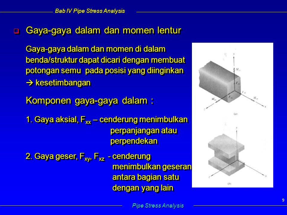 Bab IV Pipe Stress Analysis Pipe Stress Analysis 50   Longitudinal stress akibat momen bending  Tegangan bervariasi linier pada penampang, proporsional thd jarak ke neutral axis   Longitudinal stress akibat momen bending  Tegangan bervariasi linier pada penampang, proporsional thd jarak ke neutral axis M B = momen bending c= jarak p.o.i ke sumbu netral I= momen inersia penampang =  (d o 4 – d i 4 )/64 M B = momen bending c= jarak p.o.i ke sumbu netral I= momen inersia penampang =  (d o 4 – d i 4 )/64 Tegangan maksimum  dinding luar Z= section modulus