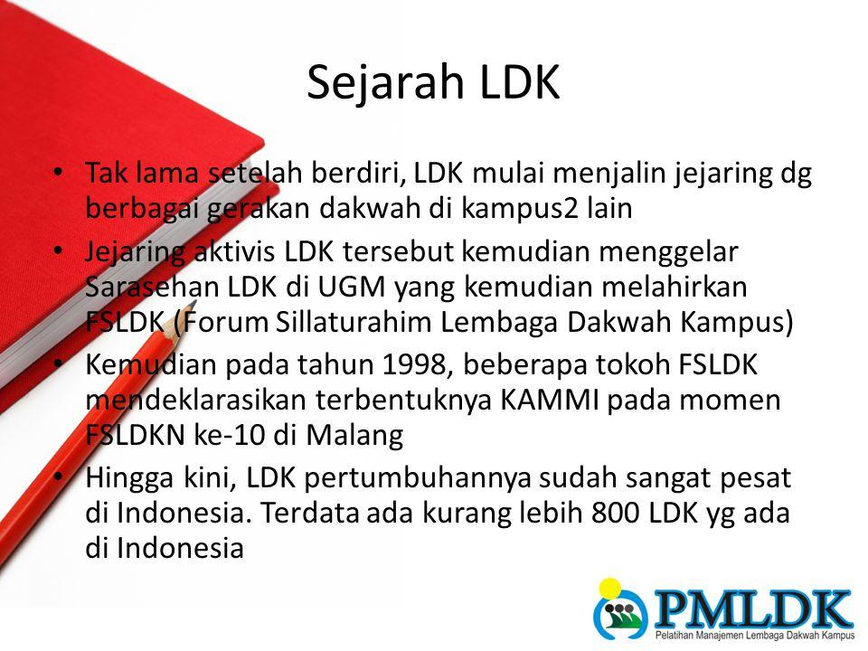 Sejarah LDK Tak lama setelah berdiri, LDK mulai menjalin jejaring dg berbagai gerakan dakwah di kampus2 lain Jejaring aktivis LDK tersebut kemudian me