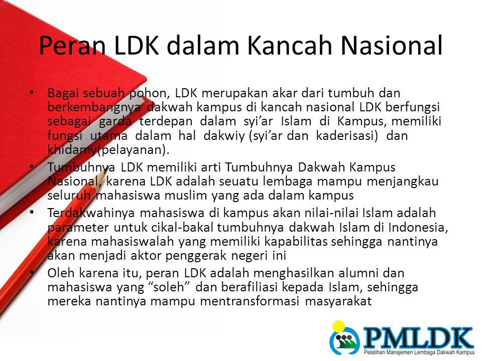 Peran LDK dalam Kancah Nasional Bagai sebuah pohon, LDK merupakan akar dari tumbuh dan berkembangnya dakwah kampus di kancah nasional LDK berfungsi se