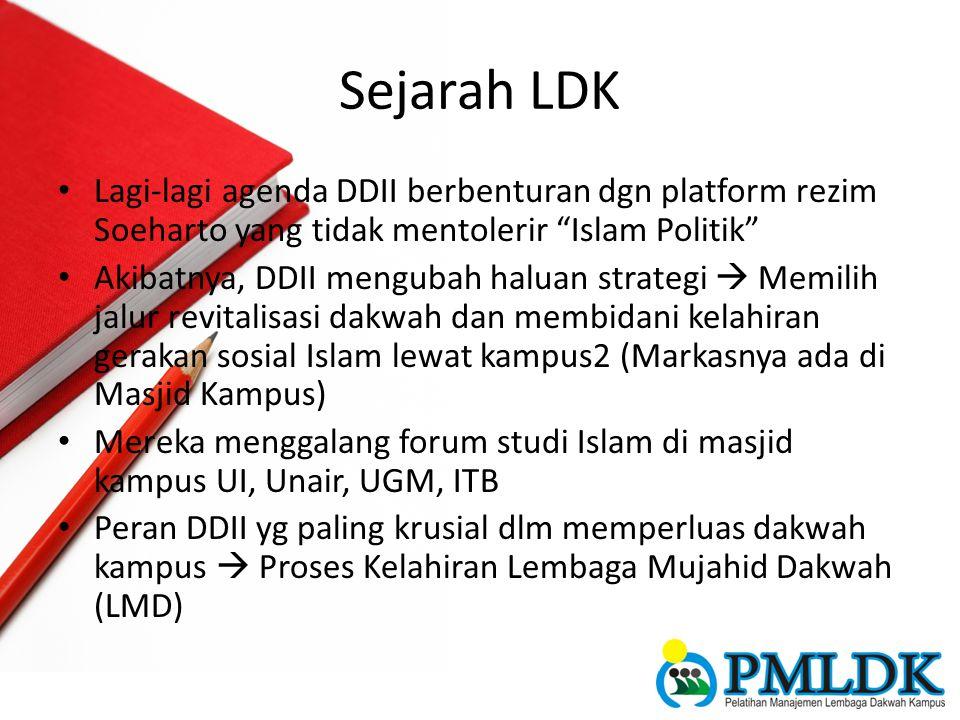 """Sejarah LDK Lagi-lagi agenda DDII berbenturan dgn platform rezim Soeharto yang tidak mentolerir """"Islam Politik"""" Akibatnya, DDII mengubah haluan strate"""