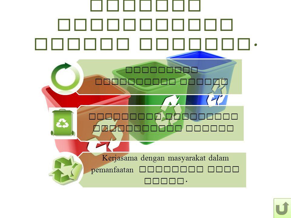 Program Pengelolaan Sampah Terpadu. Pembuatan Komposting Center Penyiapan Manajemen Pengelolaan sampah Kerjasama dengan masyarakat dalam pemanfaatan m