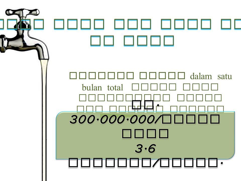 TAHUKAH ANDA? dalam satu bulan total biaya yang dibayarkan untuk air bersih adalah Rp. 300.000.000/ bulan atau 3.6 Miliyar / Tahun. Rp. 300.000.000/ b