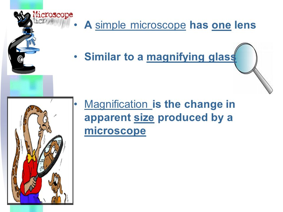A simple microscope has one lens Similar to a magnifying glass Magnification is the change in apparent size produced by a microscope