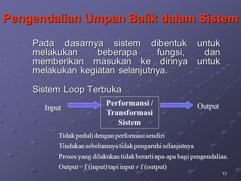 13 Pengendalian Umpan Balik dalam Sistem Pada dasarnya sistem dibentuk untuk melakukan beberapa fungsi, dan memberikan masukan ke dirinya untuk melaku