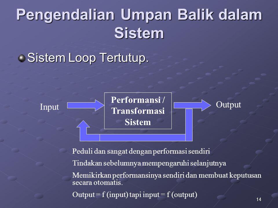 14 Pengendalian Umpan Balik dalam Sistem Sistem Loop Tertutup. Performansi / Transformasi Sistem Input Output Peduli dan sangat dengan performasi send