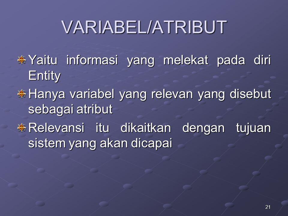 21 VARIABEL/ATRIBUT Yaitu informasi yang melekat pada diri Entity Hanya variabel yang relevan yang disebut sebagai atribut Relevansi itu dikaitkan den