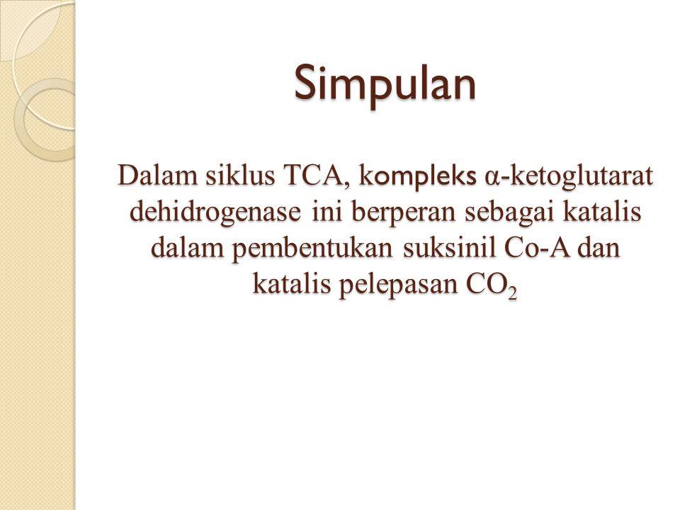 Simpulan Dalam siklus TCA, k ompleks α-ketoglutarat dehidrogenase ini berperan sebagai katalis dalam pembentukan suksinil Co-A dan katalis pelepasan CO 2