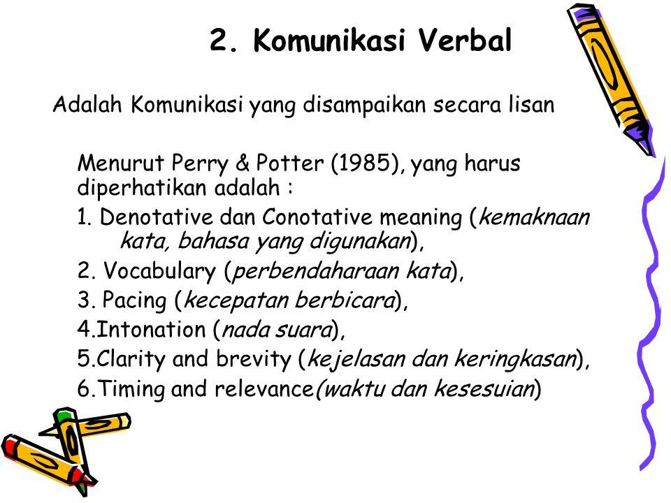 2. Komunikasi Verbal Adalah Komunikasi yang disampaikan secara lisan Menurut Perry & Potter (1985), yang harus diperhatikan adalah : 1. Denotative dan