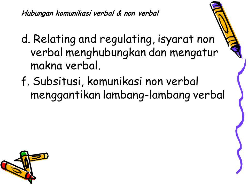 Hubungan komunikasi verbal & non verbal d.