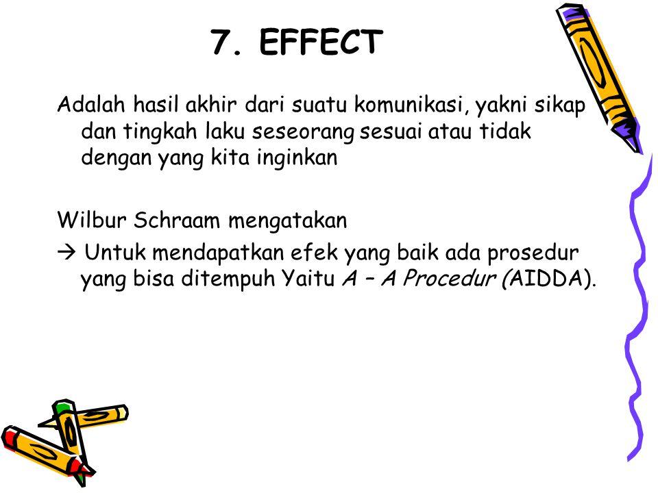 7. EFFECT Adalah hasil akhir dari suatu komunikasi, yakni sikap dan tingkah laku seseorang sesuai atau tidak dengan yang kita inginkan Wilbur Schraam