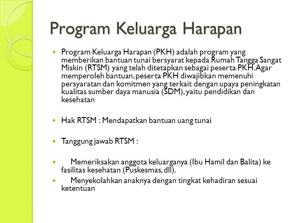 Program Keluarga Harapan Program Keluarga Harapan (PKH) adalah program yang memberikan bantuan tunai bersyarat kepada Rumah Tangga Sangat Miskin (RTSM) yang telah ditetapkan sebagai peserta PKH.