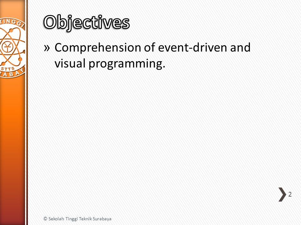 1.Introduction to Visual C# 2.Components and Event Handling (Basic Components) 3.Components and Event Handling (Advanced Components) 4.Dynamic Components 5.Graphics 6.Multiple-Document Interface 7.Input and Output 3 © Sekolah Tinggi Teknik Surabaya