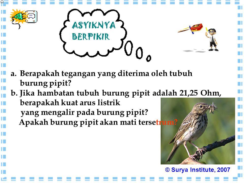 a.Berapakah tegangan yang diterima oleh tubuh burung pipit? b.Jika hambatan tubuh burung pipit adalah 21,25 Ohm, berapakah kuat arus listrik yang meng