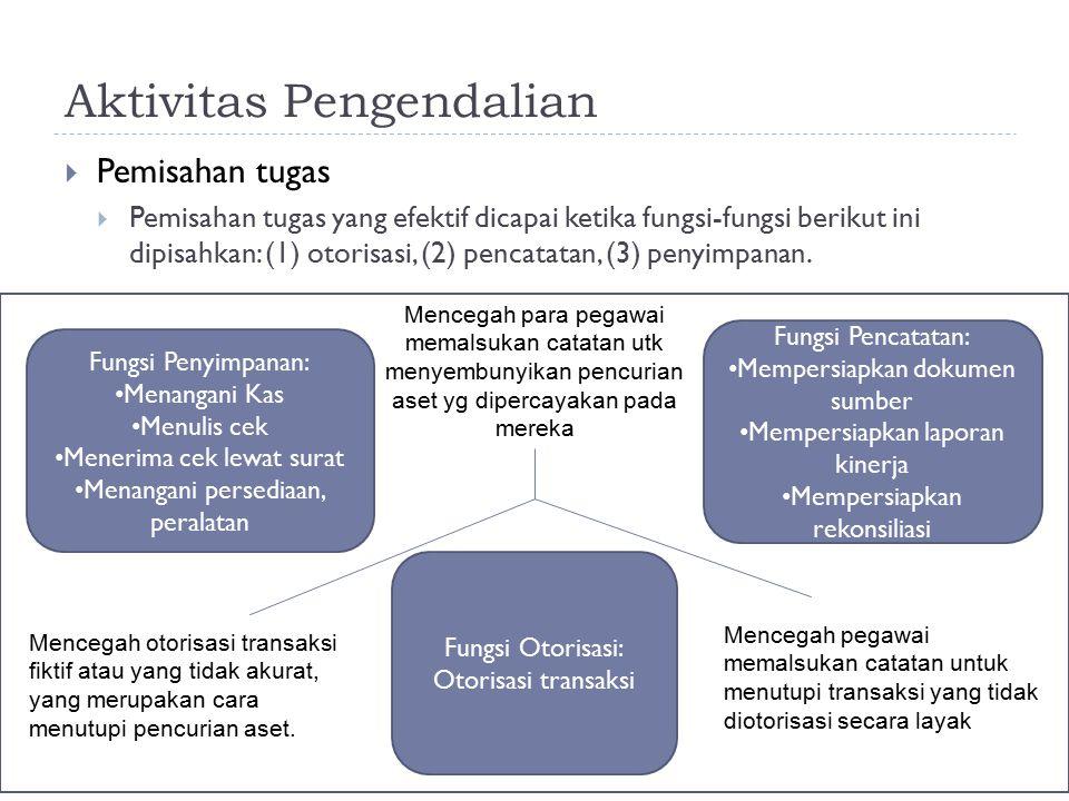 Aktivitas Pengendalian  Pemisahan tugas  Pemisahan tugas yang efektif dicapai ketika fungsi-fungsi berikut ini dipisahkan: (1) otorisasi, (2) pencat