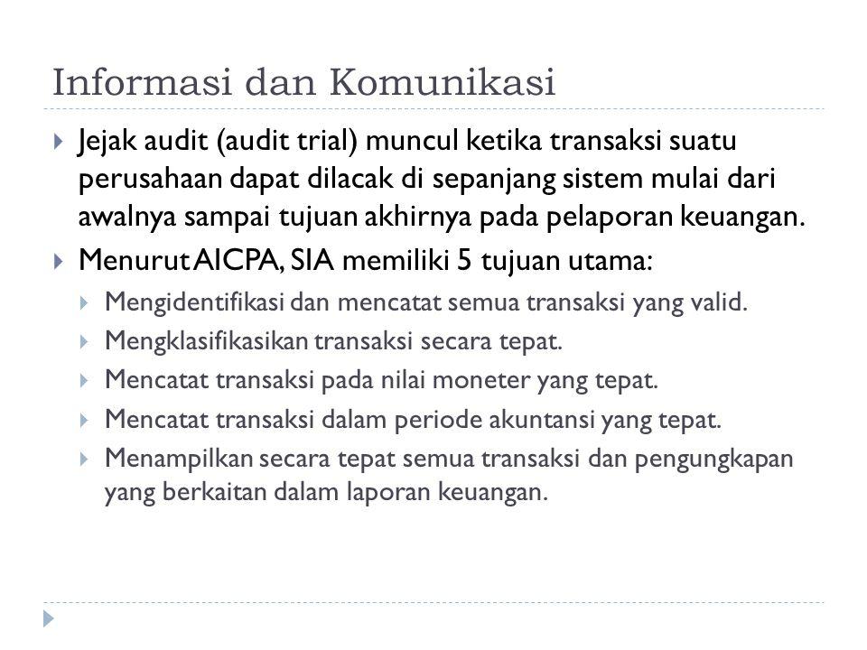 Informasi dan Komunikasi  Jejak audit (audit trial) muncul ketika transaksi suatu perusahaan dapat dilacak di sepanjang sistem mulai dari awalnya sam