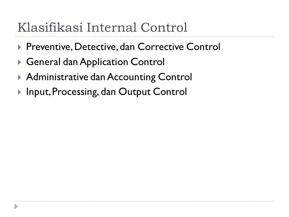 Klasifikasi Internal Control  Preventive, Detective, dan Corrective Control  General dan Application Control  Administrative dan Accounting Control
