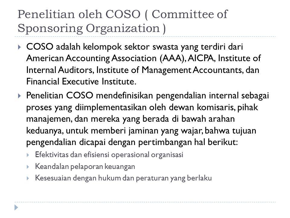 Penelitian oleh COSO ( Committee of Sponsoring Organization )  COSO adalah kelompok sektor swasta yang terdiri dari American Accounting Association (