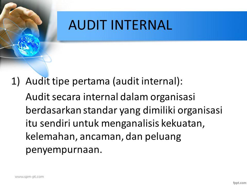 1)Audit tipe pertama (audit internal): Audit secara internal dalam organisasi berdasarkan standar yang dimiliki organisasi itu sendiri untuk menganali
