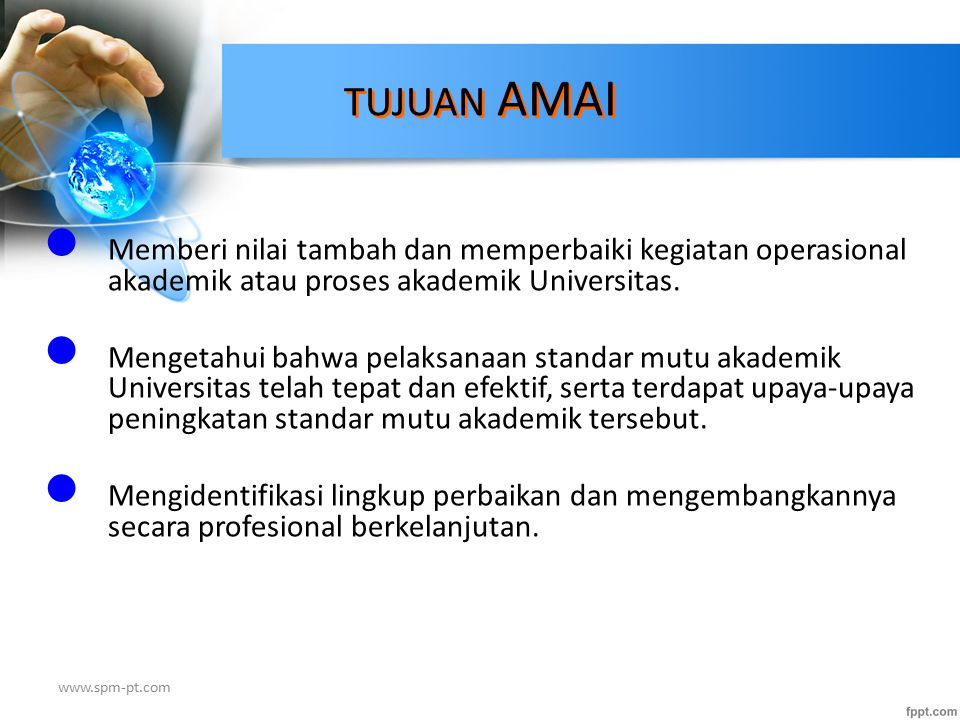 Siklus AMAI 1 1 ) Menetapkan tujuan audit 2) Merencanakan audit tahunan 3) Menetapkan sasaran dan lingkup audit 4) Membentuk tim audit 5) Mengkaji ulang dokumen dan menyiapkan daftar pengecekan (Audit Sistem) 6) Menyelenggarakan rapat tim audit 7) Menetapkan jadwal audit 8) Melaksanakan audit di tempat obyek audit (Audit Kepatuhan) 9) Menyusun laporan audit [Temuan (KTS,OB) & PTK] 10) Melakukan kajiulang oleh manajemen (+ auditor/konsultan).