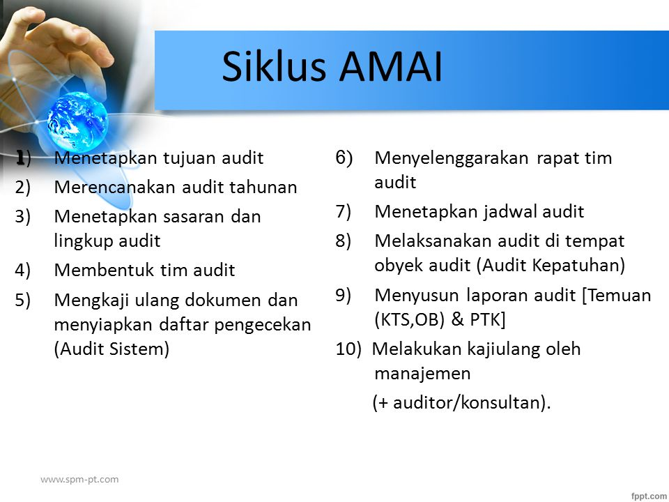 Kajiulang Dokumen dan Persiapan checklist Melaksanakan Audit Lapangan Tentukan Tujuan Audit Rapat Tim Audit LAPORAN AUDIT MPAMAI Siklus A udit M utu A kademik I nternal Menentukan kebijakan AMAI MANAJEMEN Perencanaan Audit Membentuk Tim Audit Jadwal Audit (Visitasi) 1 2 3 4 5 6 7 8 9 Menentukan kajiulang kebijakan 10 Tim Audit Kualifikasi AMAI Pemilihan Pelatihan Kelompok Auditor www.spm-pt.com