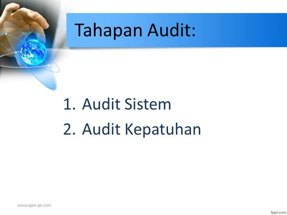 Pengertian Audit Sistem Audit Sistem: Audit terhadap kecukupan kebijakan dan prosedur organisasi untuk memenuhi persyaratan-persyaratan standar sistem audit mutu.