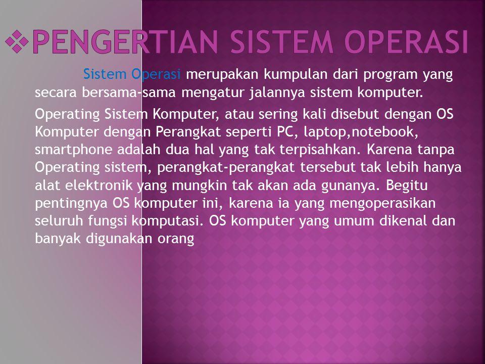 Sistem Operasi merupakan kumpulan dari program yang secara bersama-sama mengatur jalannya sistem komputer. Operating Sistem Komputer, atau sering kali